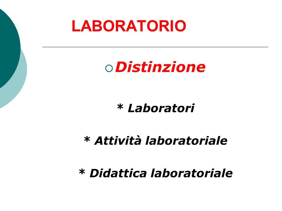 LABORATORIO Distinzione * Laboratori * Attività laboratoriale * Didattica laboratoriale