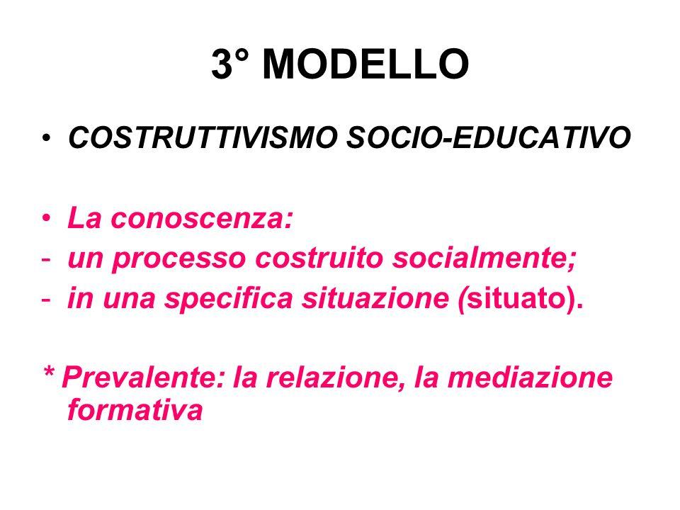 3° MODELLO COSTRUTTIVISMO SOCIO-EDUCATIVO La conoscenza: -un processo costruito socialmente; -in una specifica situazione (situato). * Prevalente: la