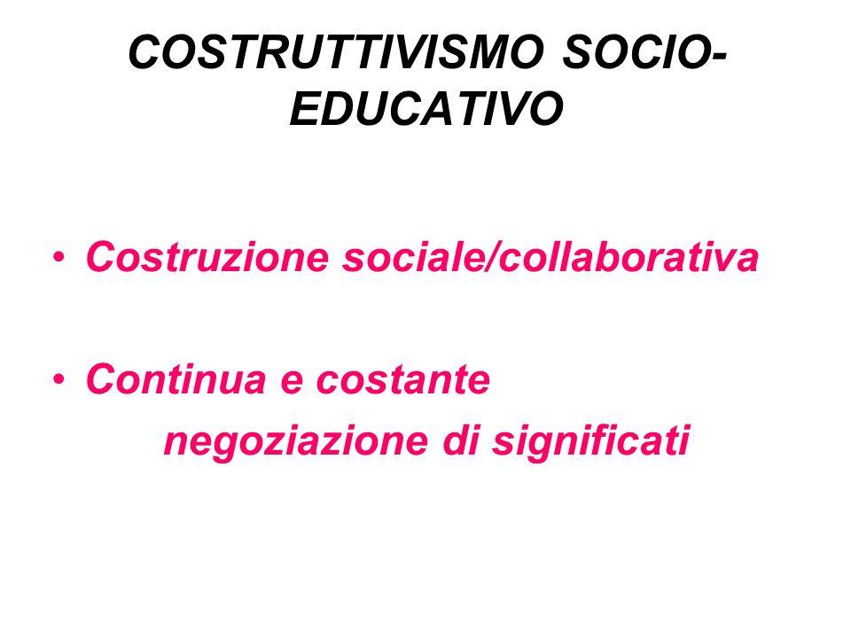 COSTRUTTIVISMO SOCIO- EDUCATIVO Costruzione sociale/collaborativa Continua e costante negoziazione di significati