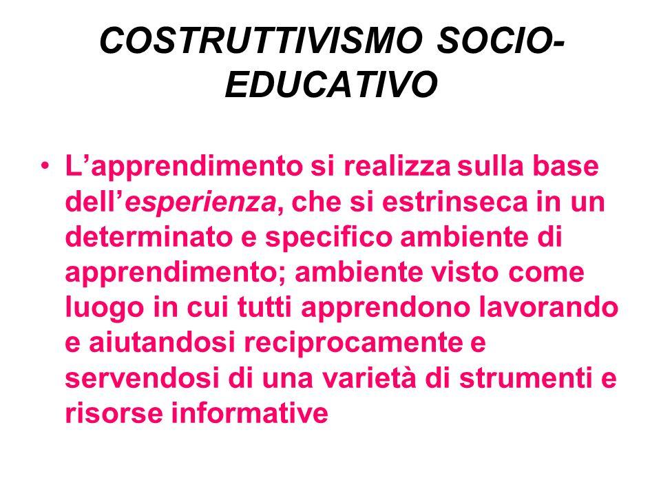 COSTRUTTIVISMO SOCIO- EDUCATIVO Lapprendimento si realizza sulla base dellesperienza, che si estrinseca in un determinato e specifico ambiente di appr