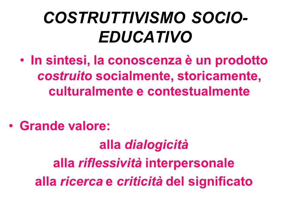 COSTRUTTIVISMO SOCIO- EDUCATIVO In sintesi, la conoscenza è un prodotto costruito socialmente, storicamente, culturalmente e contestualmente Grande valore: alla dialogicità alla riflessività interpersonale alla ricerca e criticità del significato