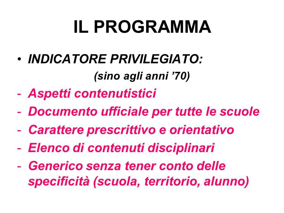 IL PROGRAMMA INDICATORE PRIVILEGIATO: (sino agli anni 70) -Aspetti contenutistici -Documento ufficiale per tutte le scuole -Carattere prescrittivo e o