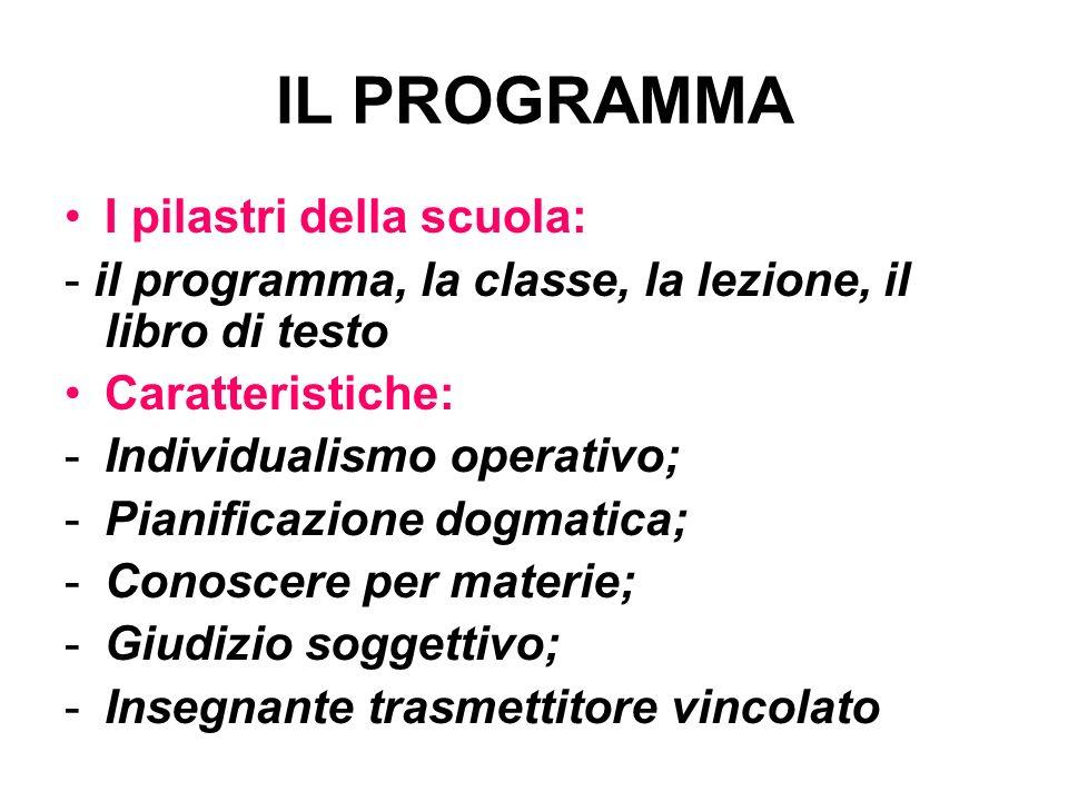 IL PROGRAMMA I pilastri della scuola: - il programma, la classe, la lezione, il libro di testo Caratteristiche: -Individualismo operativo; -Pianificaz