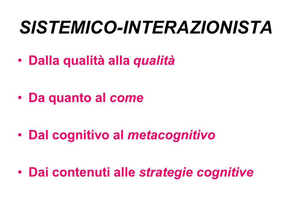 SISTEMICO-INTERAZIONISTA Dalla qualità alla qualità Da quanto al come Dal cognitivo al metacognitivo Dai contenuti alle strategie cognitive