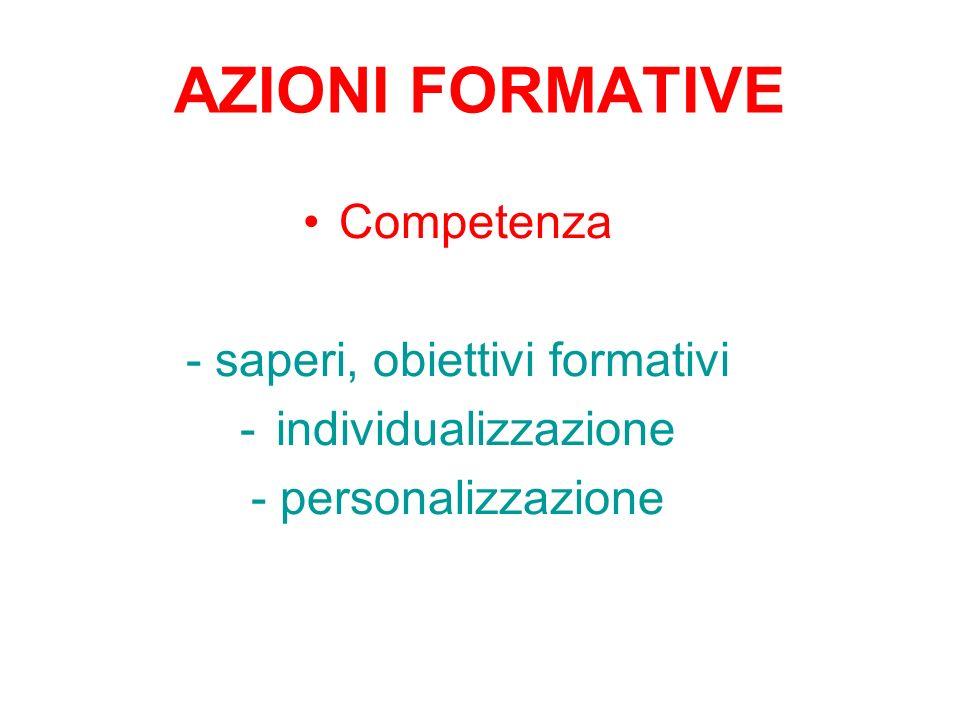 AZIONI FORMATIVE Competenza - saperi, obiettivi formativi -individualizzazione - personalizzazione