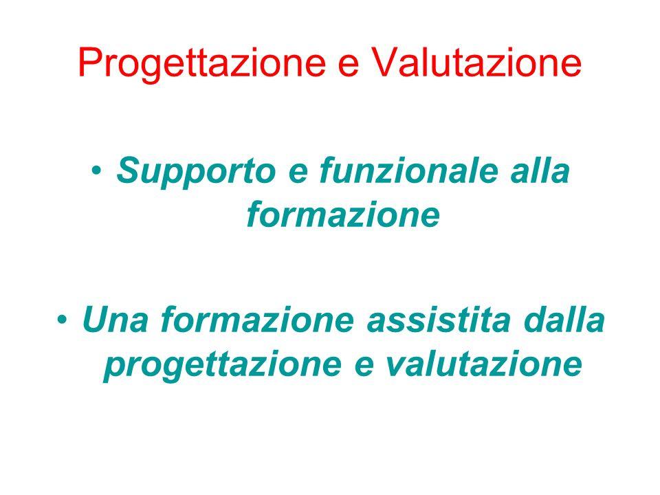Progettazione e Valutazione Supporto e funzionale alla formazione Una formazione assistita dalla progettazione e valutazione
