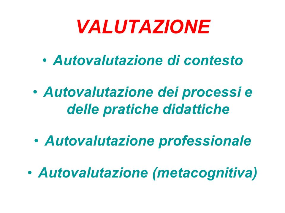 VALUTAZIONE Autovalutazione di contesto Autovalutazione dei processi e delle pratiche didattiche Autovalutazione professionale Autovalutazione (metaco