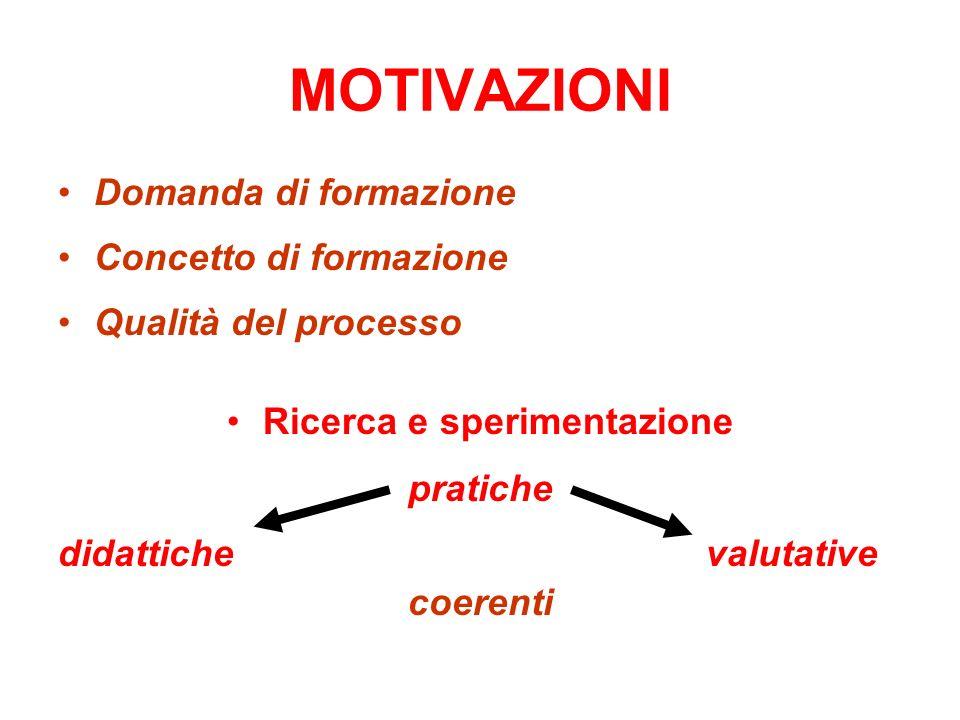 MOTIVAZIONI Domanda di formazione Concetto di formazione Qualità del processo Ricerca e sperimentazione pratiche didattiche valutative coerenti