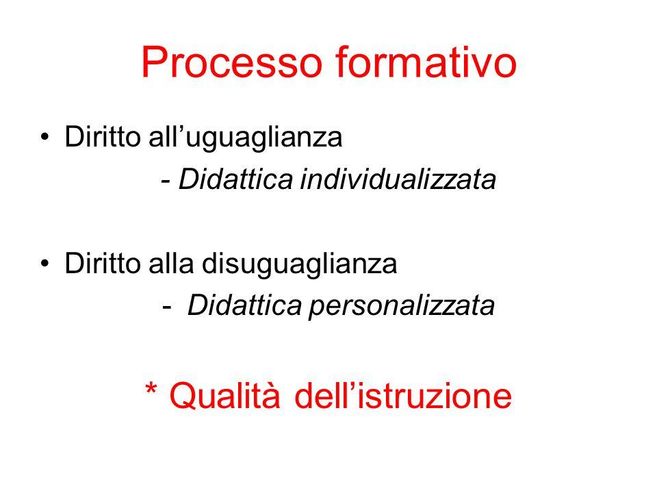 Processo formativo Diritto alluguaglianza - Didattica individualizzata Diritto alla disuguaglianza -Didattica personalizzata * Qualità dellistruzione