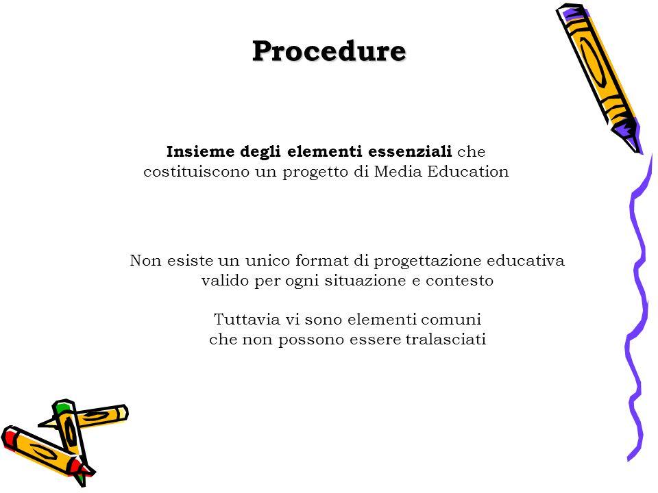 Procedure Insieme degli elementi essenziali che costituiscono un progetto di Media Education Non esiste un unico format di progettazione educativa valido per ogni situazione e contesto Tuttavia vi sono elementi comuni che non possono essere tralasciati
