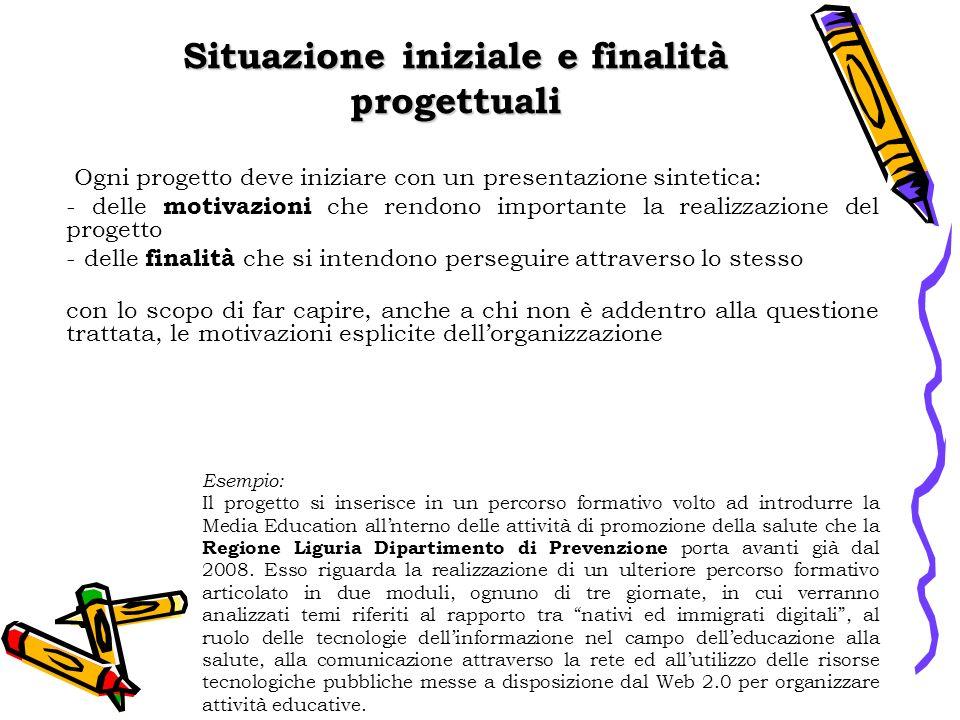 Situazione iniziale e finalità progettuali Esempio: Il progetto si inserisce in un percorso formativo volto ad introdurre la Media Education allnterno delle attività di promozione della salute che la Regione Liguria Dipartimento di Prevenzione porta avanti già dal 2008.