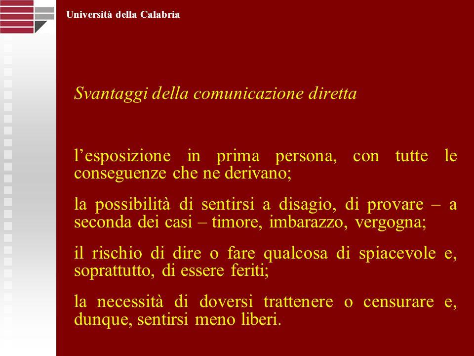 Svantaggi della comunicazione diretta lesposizione in prima persona, con tutte le conseguenze che ne derivano; la possibilità di sentirsi a disagio, d