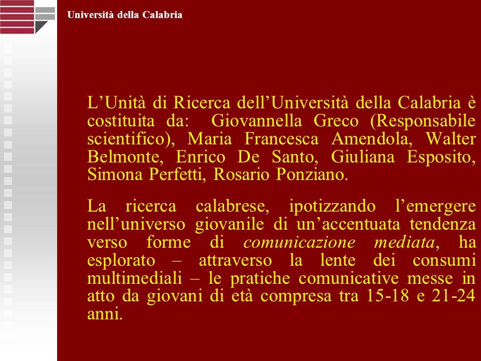 LUnità di Ricerca dellUniversità della Calabria è costituita da: Giovannella Greco (Responsabile scientifico), Maria Francesca Amendola, Walter Belmon