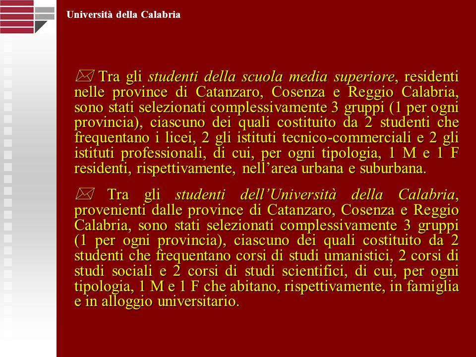 Tra gli studenti della scuola media superiore, residenti nelle province di Catanzaro, Cosenza e Reggio Calabria, sono stati selezionati complessivamen