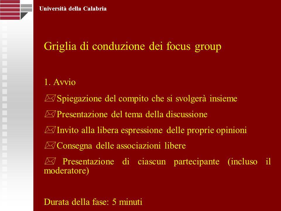 Griglia di conduzione dei focus group 1. Avvio Spiegazione del compito che si svolgerà insieme Presentazione del tema della discussione Invito alla li