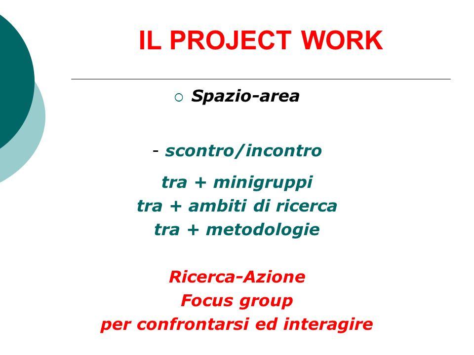 IL PROJECT WORK Spazio-area - scontro/incontro tra + minigruppi tra + ambiti di ricerca tra + metodologie Ricerca-Azione Focus group per confrontarsi