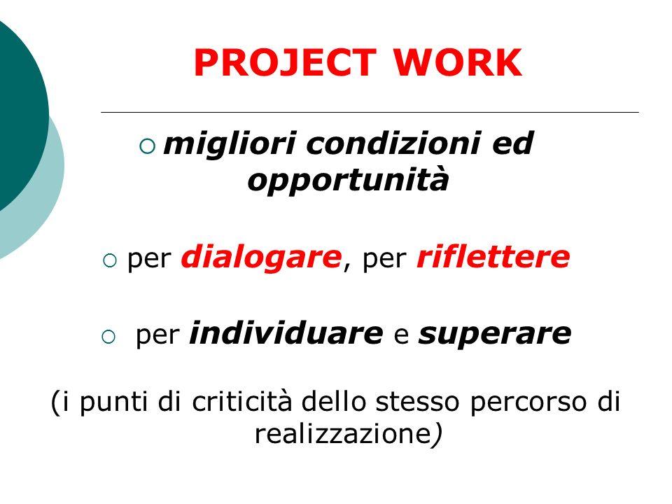 valorizza il saper fare richiede linterazione, la comunicazione, la relazione in contesti reali PROJECT WORK