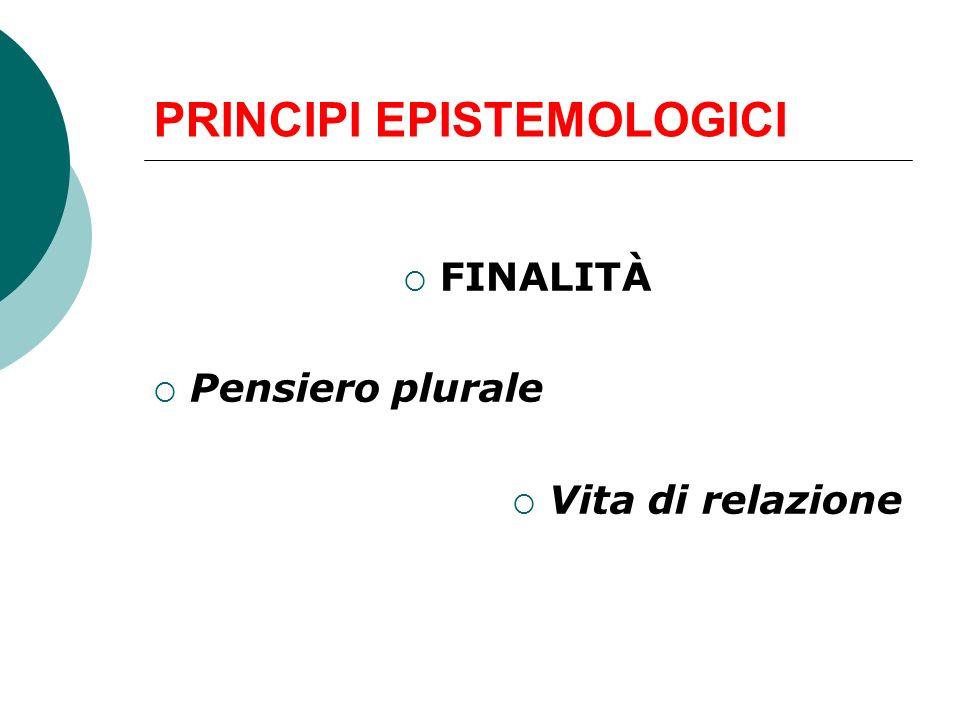 PRINCIPI EPISTEMOLOGICI FINALITÀ Pensiero plurale Vita di relazione
