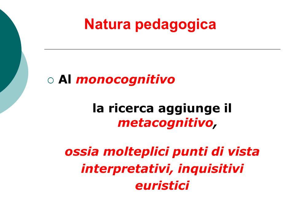 Natura pedagogica Al monocognitivo la ricerca aggiunge il metacognitivo, ossia molteplici punti di vista interpretativi, inquisitivi euristici