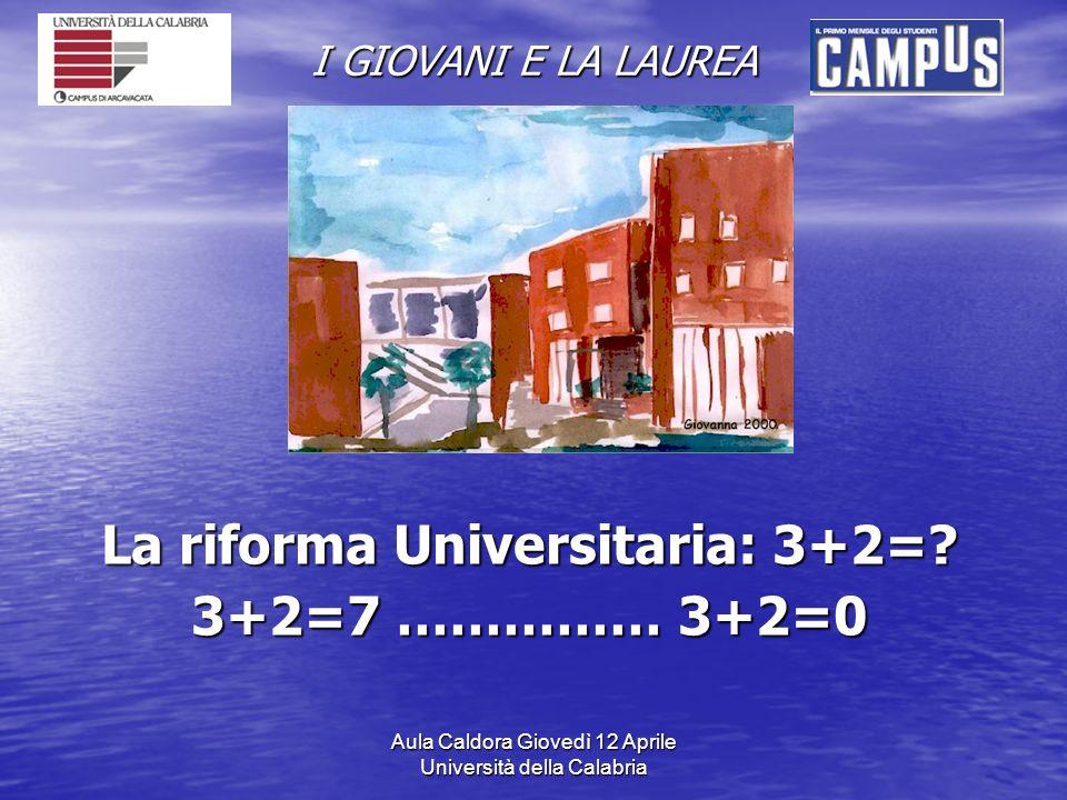 Aula Caldora Giovedì 12 Aprile Università della Calabria I GIOVANI E LA LAUREA La riforma Universitaria: 3+2=.