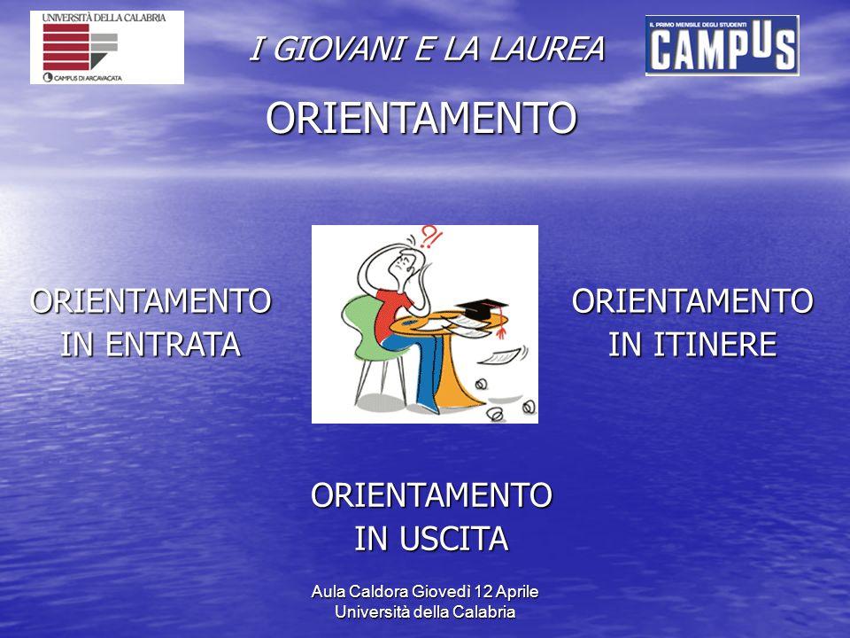 Aula Caldora Giovedì 12 Aprile Università della Calabria I GIOVANI E LA LAUREA ORIENTAMENTO ORIENTAMENTO IN ENTRATA ORIENTAMENTO IN ITINERE ORIENTAMENTO IN USCITA