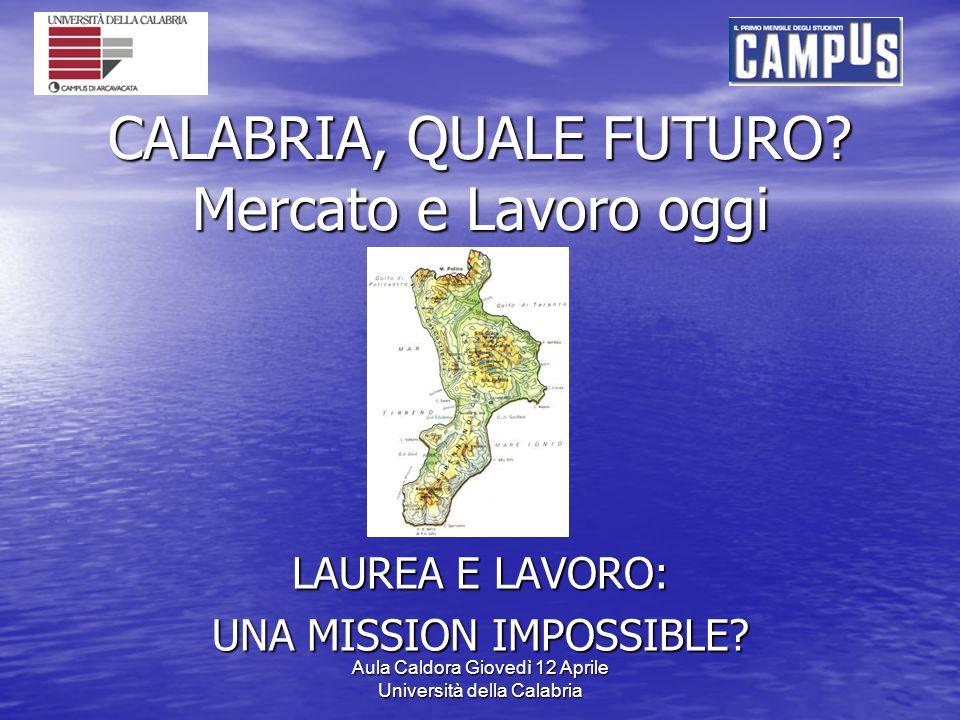 Aula Caldora Giovedì 12 Aprile Università della Calabria CALABRIA, QUALE FUTURO.