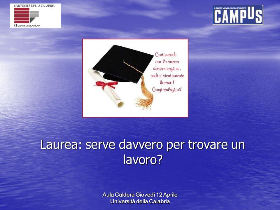 Aula Caldora Giovedì 12 Aprile Università della Calabria Laurea: serve davvero per trovare un lavoro