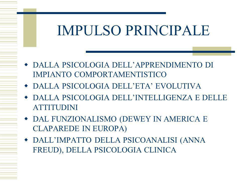 IMPULSO PRINCIPALE DALLA PSICOLOGIA DELLAPPRENDIMENTO DI IMPIANTO COMPORTAMENTISTICO DALLA PSICOLOGIA DELLETA EVOLUTIVA DALLA PSICOLOGIA DELLINTELLIGE