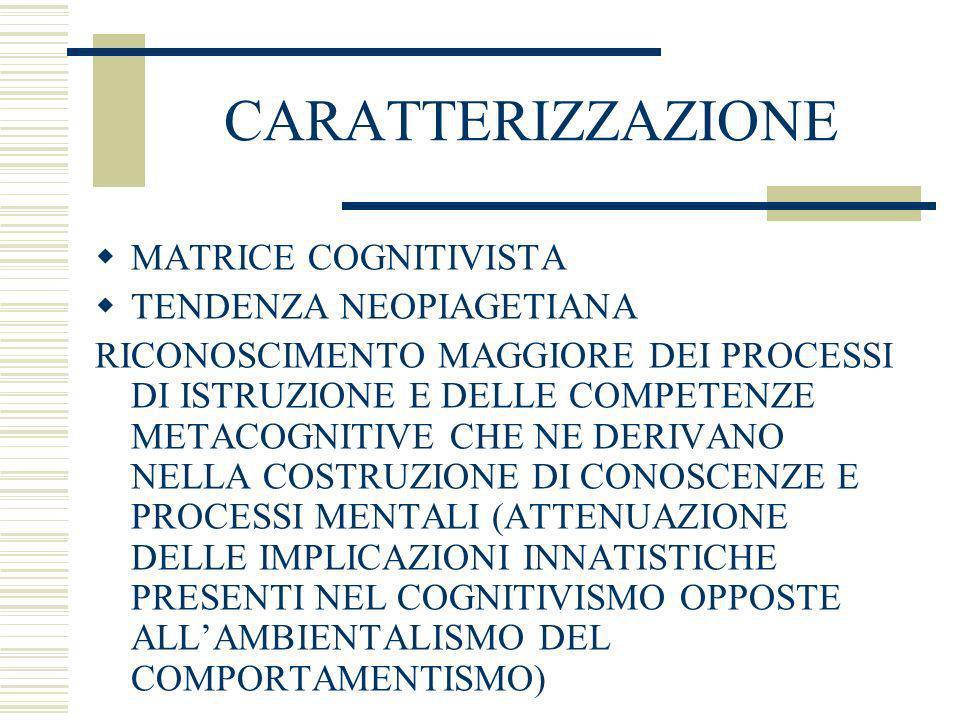 CARATTERIZZAZIONE MATRICE COGNITIVISTA TENDENZA NEOPIAGETIANA RICONOSCIMENTO MAGGIORE DEI PROCESSI DI ISTRUZIONE E DELLE COMPETENZE METACOGNITIVE CHE