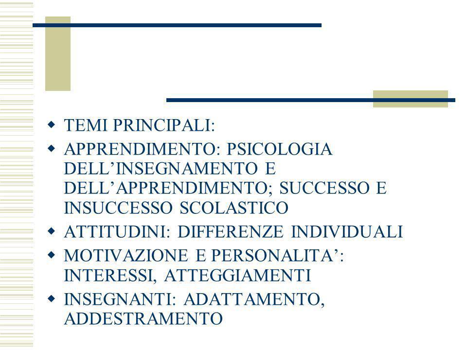 TEMI PRINCIPALI: APPRENDIMENTO: PSICOLOGIA DELLINSEGNAMENTO E DELLAPPRENDIMENTO; SUCCESSO E INSUCCESSO SCOLASTICO ATTITUDINI: DIFFERENZE INDIVIDUALI M
