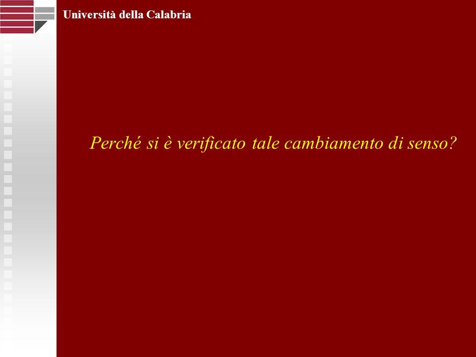 Perché si è verificato tale cambiamento di senso? Università della Calabria