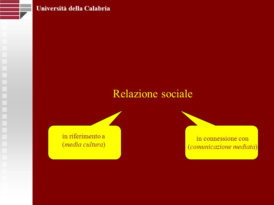 Relazione sociale Università della Calabria in riferimento a (media cultura) in connessione con (comunicazione mediata)