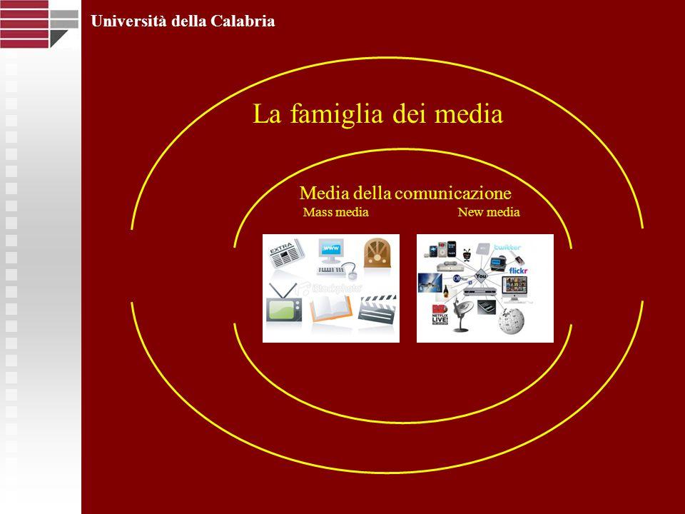 Università della Calabria La famiglia dei media Mass mediaNew media Media della comunicazione