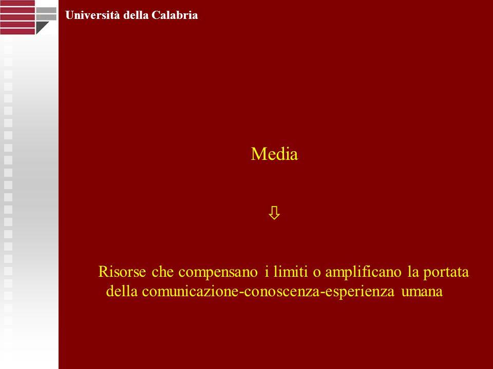 Media Risorse che compensano i limiti o amplificano la portata della comunicazione-conoscenza-esperienza umana Università della Calabria