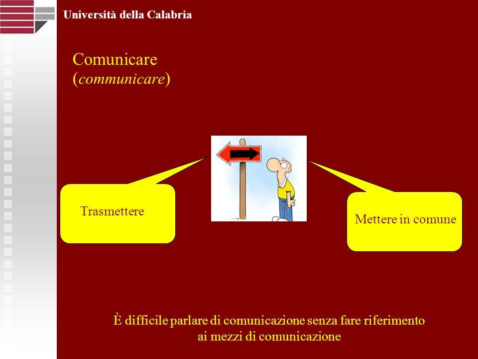 Comunicare ( communicare ) Università della Calabria Mettere in comune Trasmettere È difficile parlare di comunicazione senza fare riferimento ai mezzi di comunicazione Mettere in comune