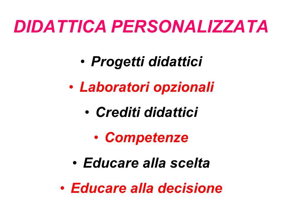 DIDATTICA PERSONALIZZATA Progetti didattici Laboratori opzionali Crediti didattici Competenze Educare alla scelta Educare alla decisione