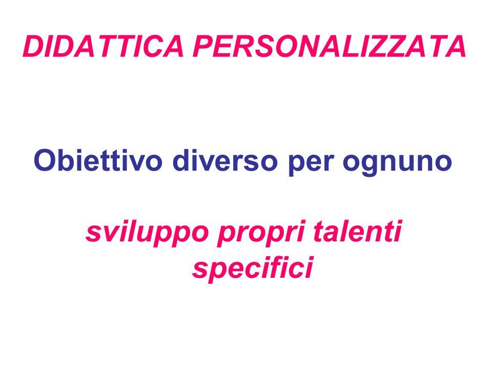 DIDATTICA PERSONALIZZATA Obiettivo diverso per ognuno sviluppo propri talenti specifici