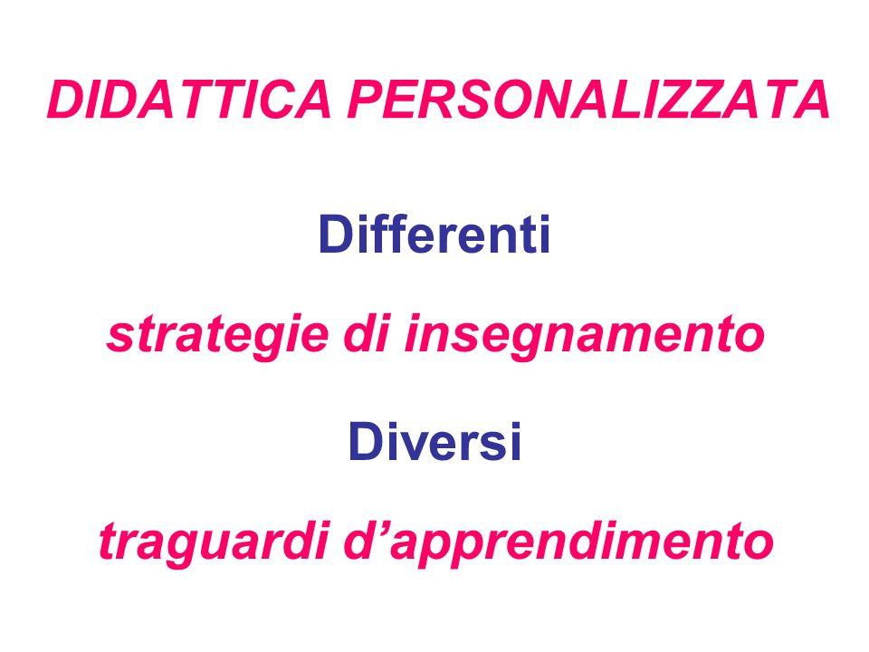 DIDATTICA PERSONALIZZATA Differenti strategie di insegnamento Diversi traguardi dapprendimento