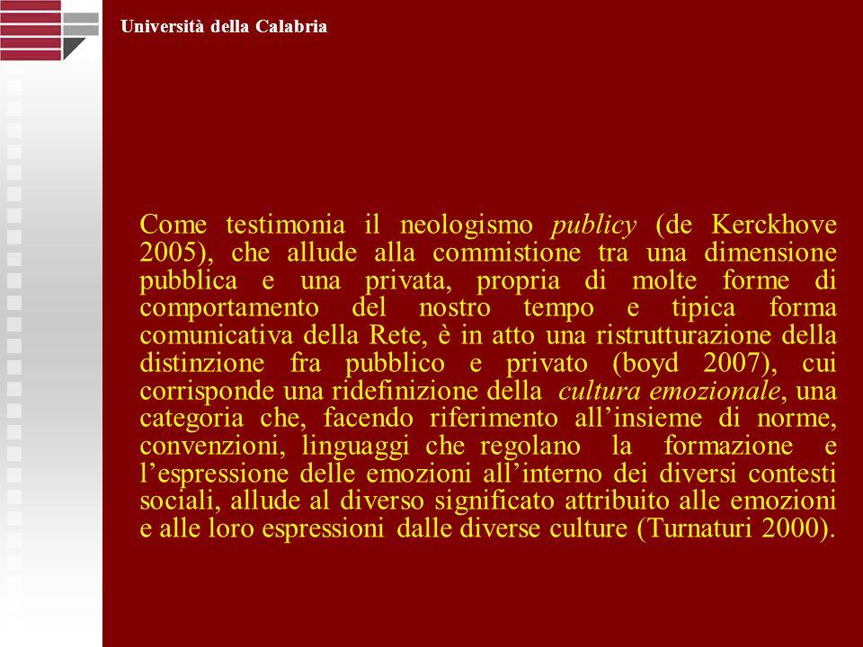 Come testimonia il neologismo publicy (de Kerckhove 2005), che allude alla commistione tra una dimensione pubblica e una privata, propria di molte for