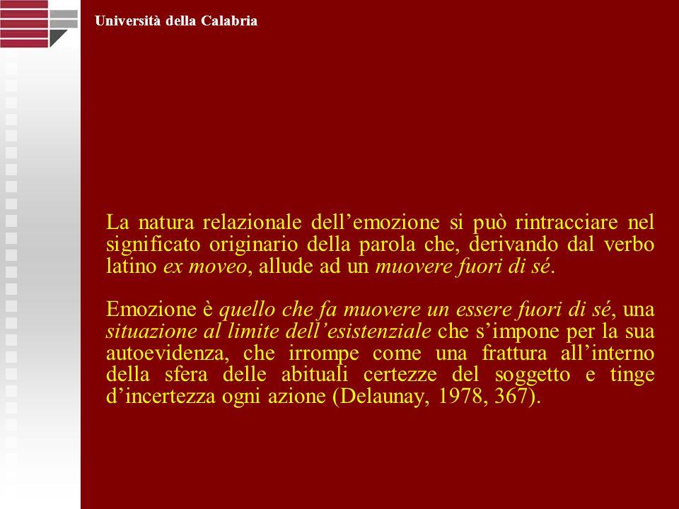 La natura relazionale dellemozione si può rintracciare nel significato originario della parola che, derivando dal verbo latino ex moveo, allude ad un