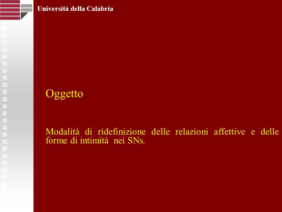 Oggetto Modalità di ridefinizione delle relazioni affettive e delle forme di intimità nei SNs. Università della Calabria