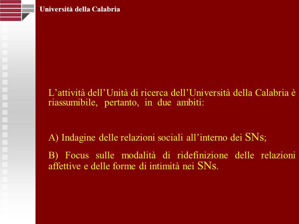 Lattività dellUnità di ricerca dellUniversità della Calabria è riassumibile, pertanto, in due ambiti: A) Indagine delle relazioni sociali allinterno d