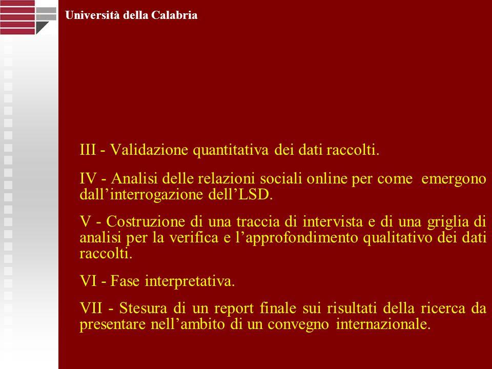 III - Validazione quantitativa dei dati raccolti. IV - Analisi delle relazioni sociali online per come emergono dallinterrogazione dellLSD. V - Costru