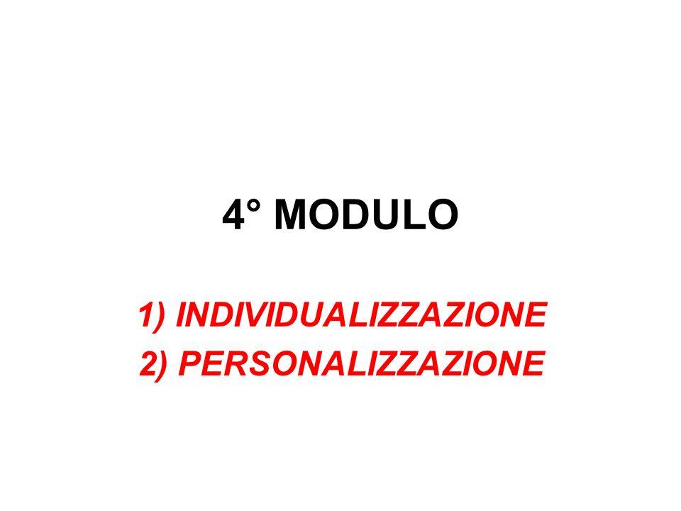4° MODULO 1) INDIVIDUALIZZAZIONE 2) PERSONALIZZAZIONE