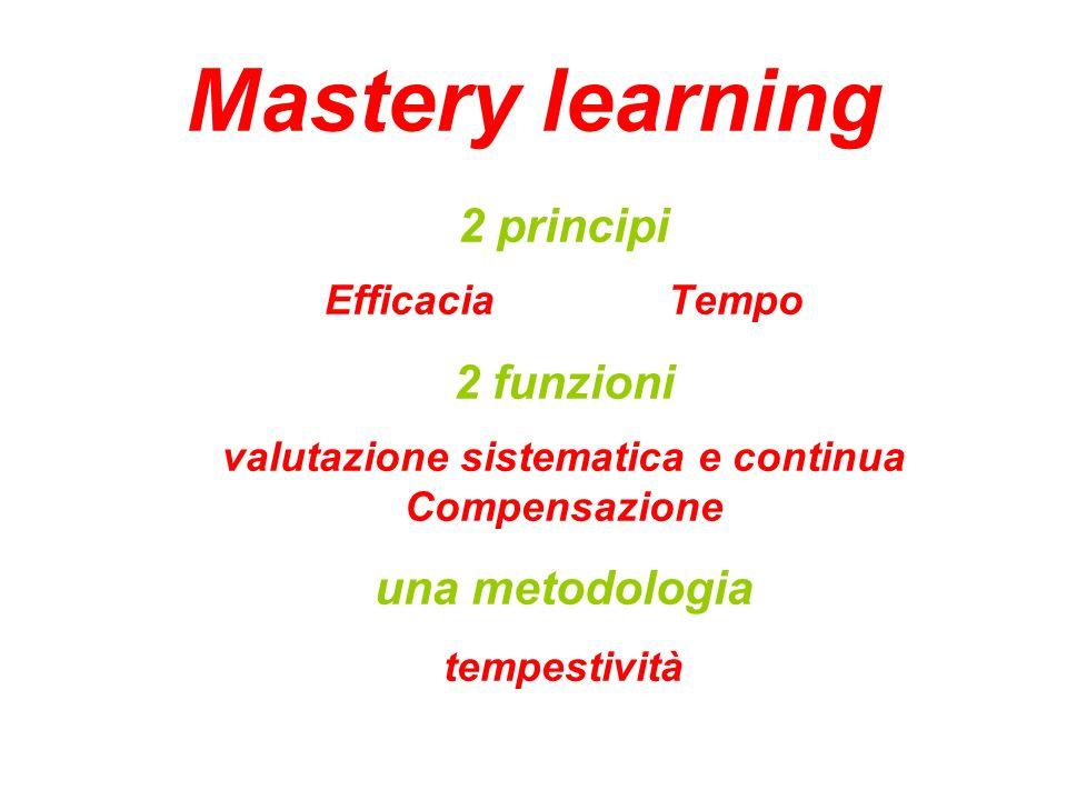 2 principi Efficacia Tempo 2 funzioni valutazione sistematica e continua Compensazione una metodologia tempestività