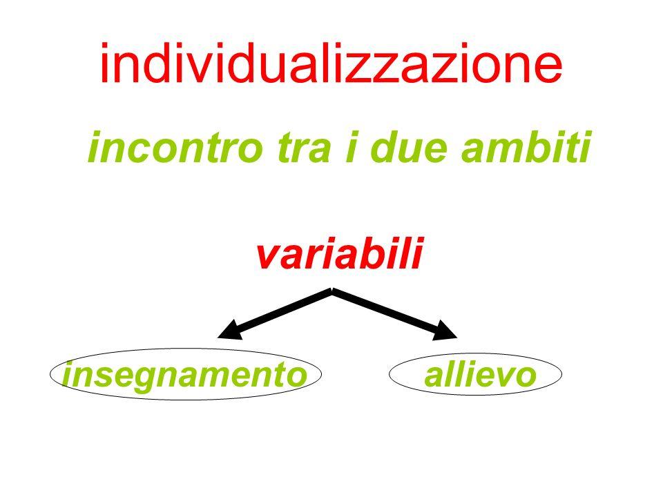 individualizzazione incontro tra i due ambiti variabili insegnamento allievo