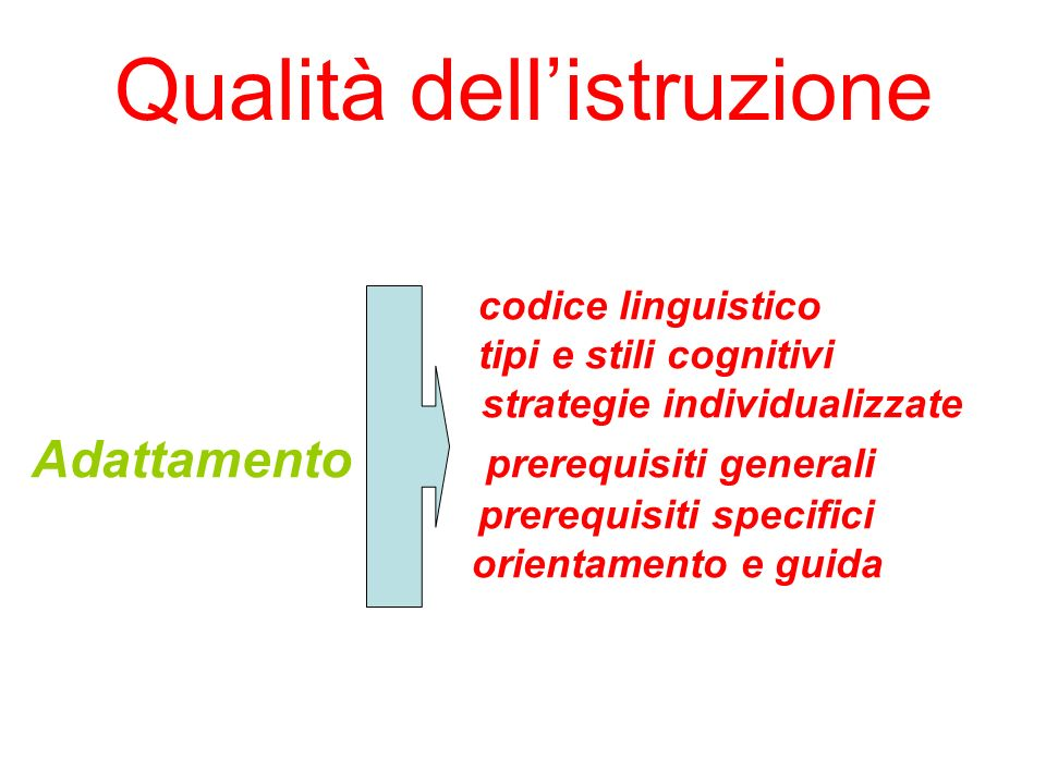 Qualità dellistruzione codice linguistico tipi e stili cognitivi strategie individualizzate Adattamento prerequisiti generali prerequisiti specifici o
