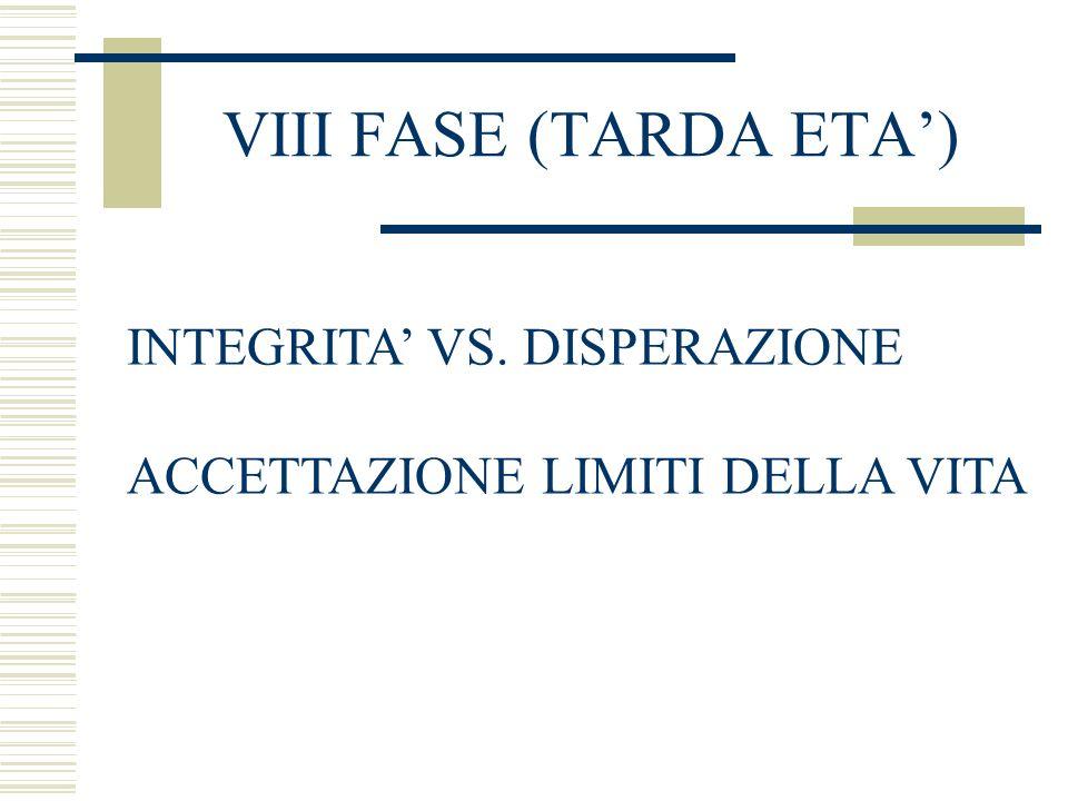 VIII FASE (TARDA ETA) INTEGRITA VS. DISPERAZIONE ACCETTAZIONE LIMITI DELLA VITA