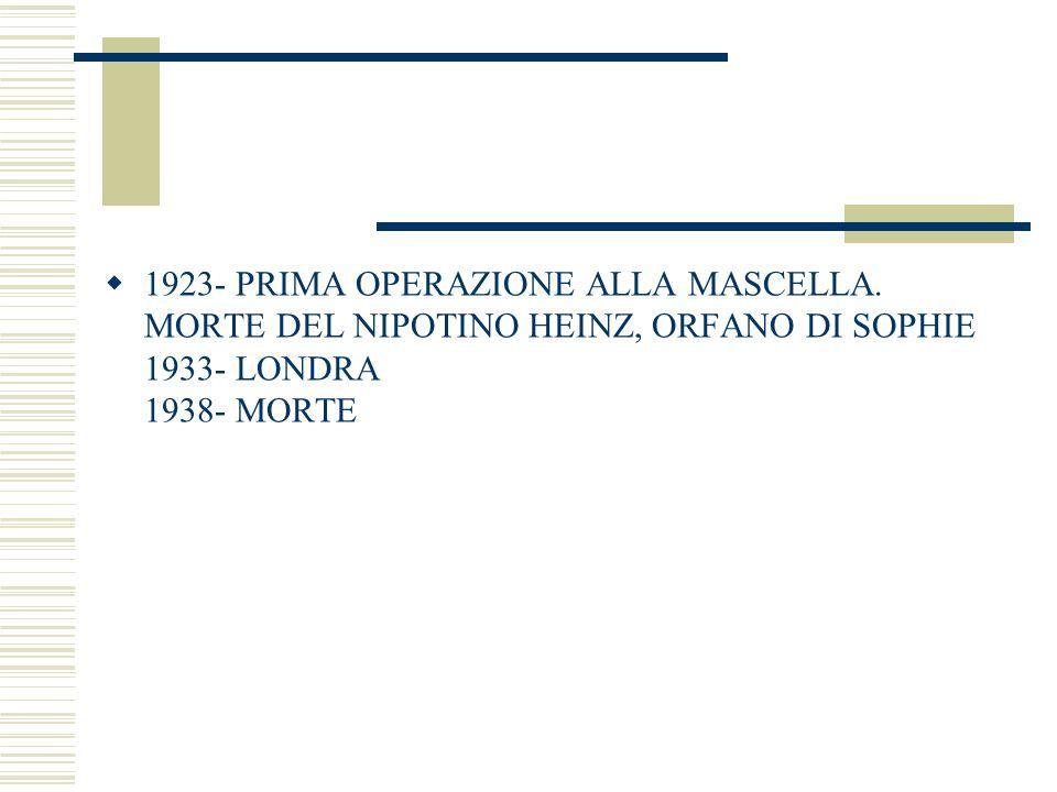 1923- PRIMA OPERAZIONE ALLA MASCELLA. MORTE DEL NIPOTINO HEINZ, ORFANO DI SOPHIE 1933- LONDRA 1938- MORTE