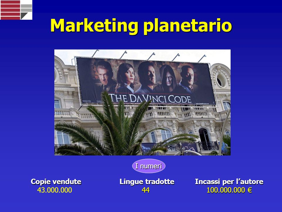 Marketing planetario Copie vendute 43.000.000 Lingue tradotte 44 Incassi per lautore 100.000.000 100.000.000 I numeri